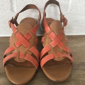 Clark Artisan Strappy Leather Sandal Heels